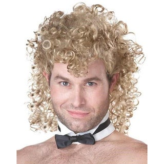 Girl's Night Out Blonde Stripper Wig Adult Costume Chippendales Curly Bow Tie