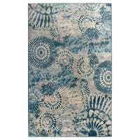 Rizzy Home Blue Bellevue Collection Power-loomed Accent Rug - 5'3 x 7'7