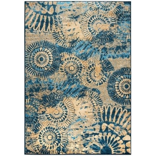 """Rizzy Home Blue Bellevue Collection Power-loomed Accent Rug (5'3 x 7'7) - 5'3"""" x 7'7"""""""