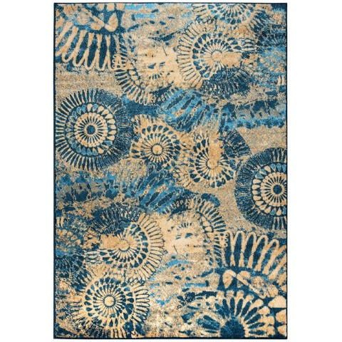 "Rizzy Home Blue Bellevue Collection Power-loomed Accent Rug (6'7 x 9'6) - 6'7"" x 9'6"""