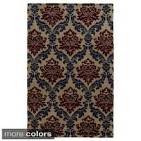 Rizzy Home Dark Beige/ Beige Bradberry Downs Collection 100-percent Wool Accent Rug - 8' x 10'