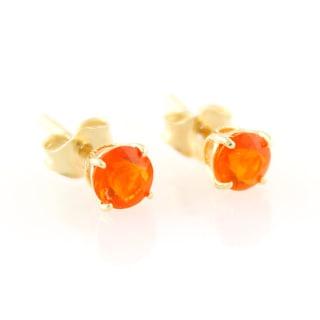 14k Yellow Gold Petite 4mm Round-cut Gemstone Stud Earrings