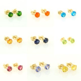14k Yellow Gold Petite 4mm Round-cut Gemstone Stud Earrings