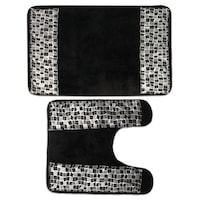 Clic Black And Silver Tile Patchwork Bath Contour Rug Set Or Separates