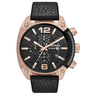 Diesel Men's DZ4297 Overflow Round Black Leather Strap Watch