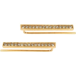 Eternally Haute Sterling Silver Pave Linear Ear Climbers
