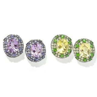 Sterling Silver Multi Gemstone Stud Earrings