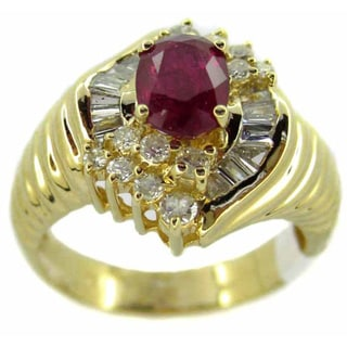 Kabella Luxe 14k Yellow Gold 3/4ct TDW Diamond Ruby Vintage Ring (G-H, SI2-SI3)