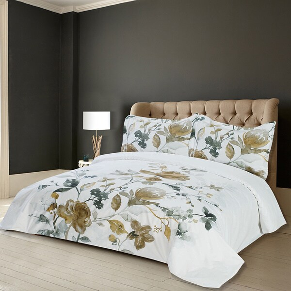 Lauren Taylor Amal 3-piece Floral Printed Duvet Cover Set