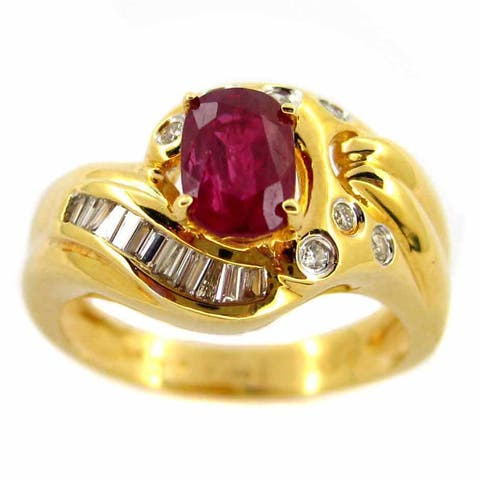 Kabella Luxe 18k Yellow Gold 1/4ct TDW Diamond Ruby Ring (G-H, SI1-SI2)