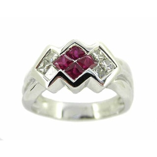 Kabella Luxe 14k White Gold 2/5ct TDW Diamond and Ruby Ring (G-H, SI1-SI2)