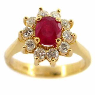 Kabella 14k Yellow Gold 1/2ct TDW Diamond Ruby Ring (F-G,