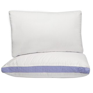 Hypo-Allergenic Extra Firm Cotton Pillows with 2-Inch Quilted Gusset (Set of 2) - White