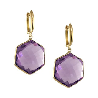 14k Yellow Gold Hexagonal Amethyst Bezel Dangle Earrings