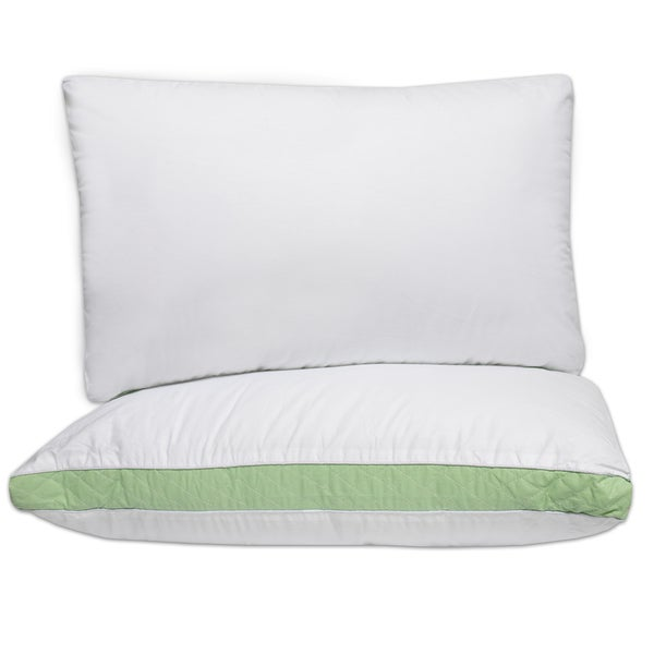 Hypo-Allergenic Firm Cotton Pillows with 2 Inch Quilted Gusset (Set of 2) - White