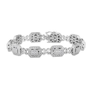Sterling Silver 1/2ct TDW Diamond Infinity Link Bracelet