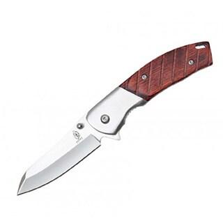 Wood 7.75-inch BUCKSHOT Classic Stainless Steel Pocket Knife 8202 Belt Clip