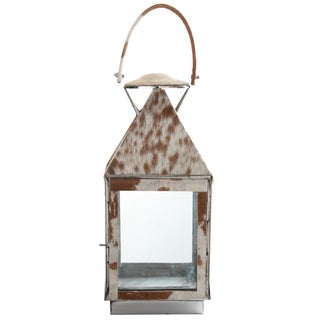 Silver Metal Safari Lantern with Cowhide Accents