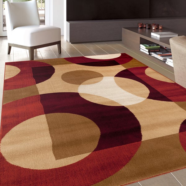 Modern Circles Red Area Rug 3 3 X 5 Free Shipping
