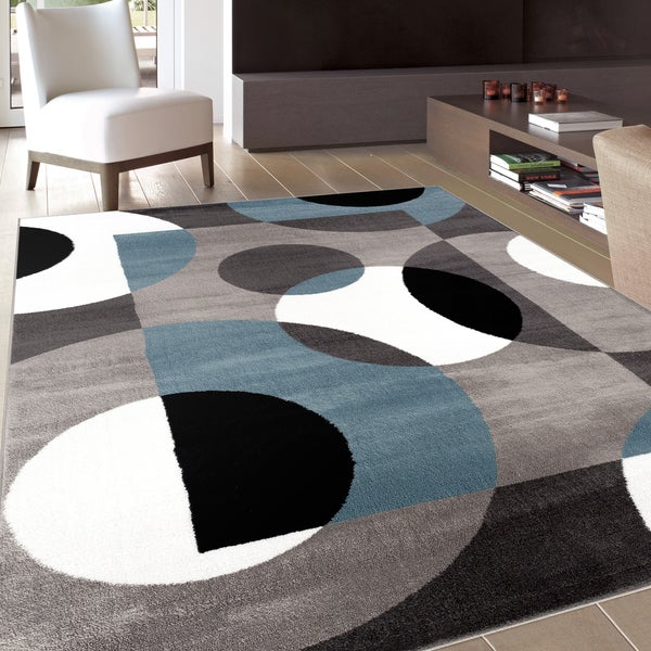 Shop Modern Circles Blue Area Rug 3 3 X 5 On Sale
