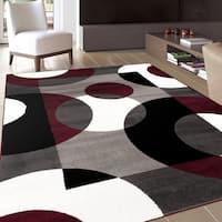 Modern Circles Burgundy Area Rug (3'3 x 5') - 3'3 x 5'
