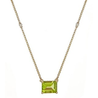 Anika and August 14k Yellow Gold Emerald-cut Peridot and Diamond Accent Necklace