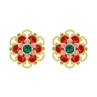 Lucia Costin Rose Gold Over Sterling Silver Green Red Crystal Stud Earrings