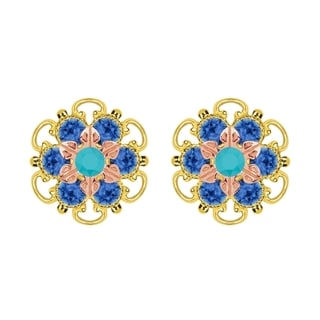 Lucia Costin Rose Gold Over Sterling Silver Turquoise Blue Crystal Stud Earrings