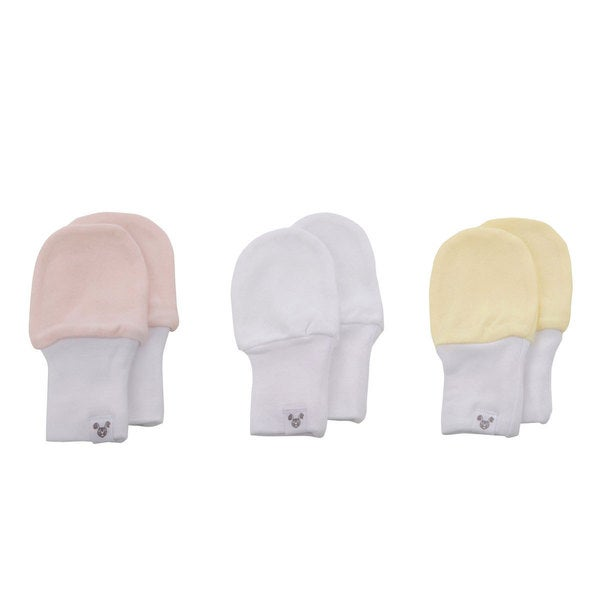 Crummy Bunny No Scratch Pink, Yellow, White Cotton Baby Mittens (Set of 3)
