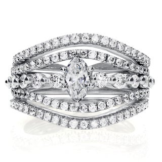 Annello by Kobelli 14k White Gold 1 1/4 ct TDW Marquise Diamond 3-Piece Bridal Rings Set
