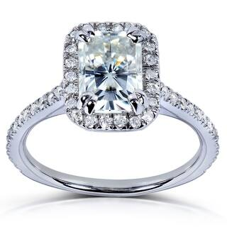Annello by Kobelli 14k White Gold 1 1/2ct TGW Radiant-cut Moissanite (FG) and Diamond (GH) Halo Engagement Ring (Option: 9.5)|https://ak1.ostkcdn.com/images/products/10276790/P17392822.jpg?impolicy=medium