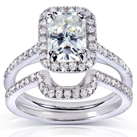 Annello by Kobelli 14k White Gold 1 5/8ct TGW Radiant-cut Moissanite (FG) and Diamond (GH) Halo Bridal Rings Set