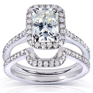 Annello by Kobelli 14k Gold Radiant Moissanite and 1/2ct TDW Halo Round Diamond Bridal Rings Set