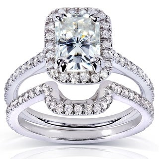Annello 14k Gold Radiant Moissanite and 1/2ct TDW Halo Round Diamond Bridal Rings Set (G-H, I1-I2)
