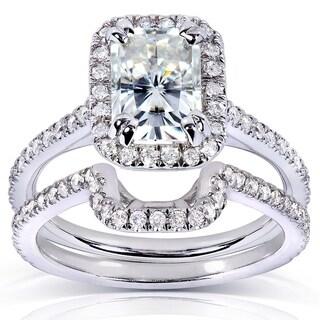 Annello by Kobelli 14k White Gold 1 5/8ct TGW Radiant-cut Moissanite (FG) and Diamond (GH) Halo Bridal Rings Set