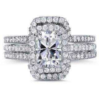 Annello by Kobelli 14k Gold 1 7/8ct TGW Radiant Moissanite (FG) Center and Diamond Halo Bridal Rings (3-pc set)