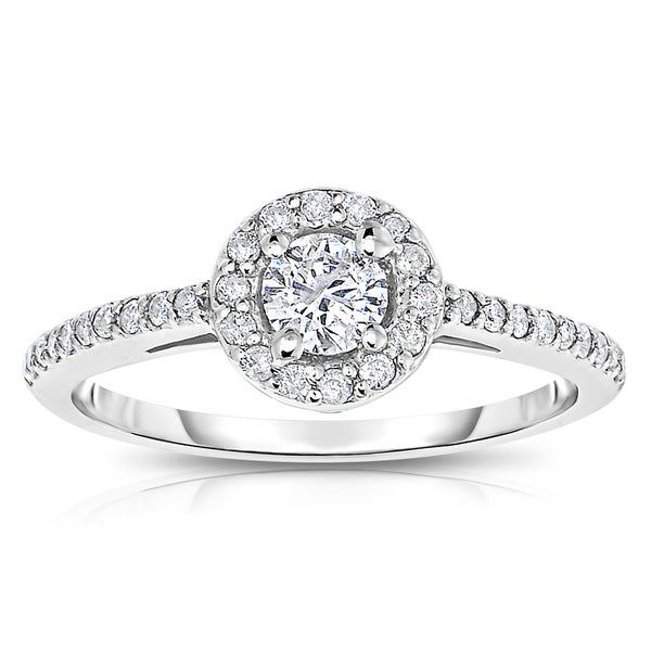 14k White Gold 1/2 ct TDW Diamond Halo Engagement Ring