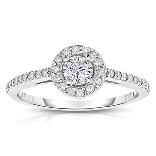 14k White Gold 1/2 ct TDW Diamond Halo Engagement Ring