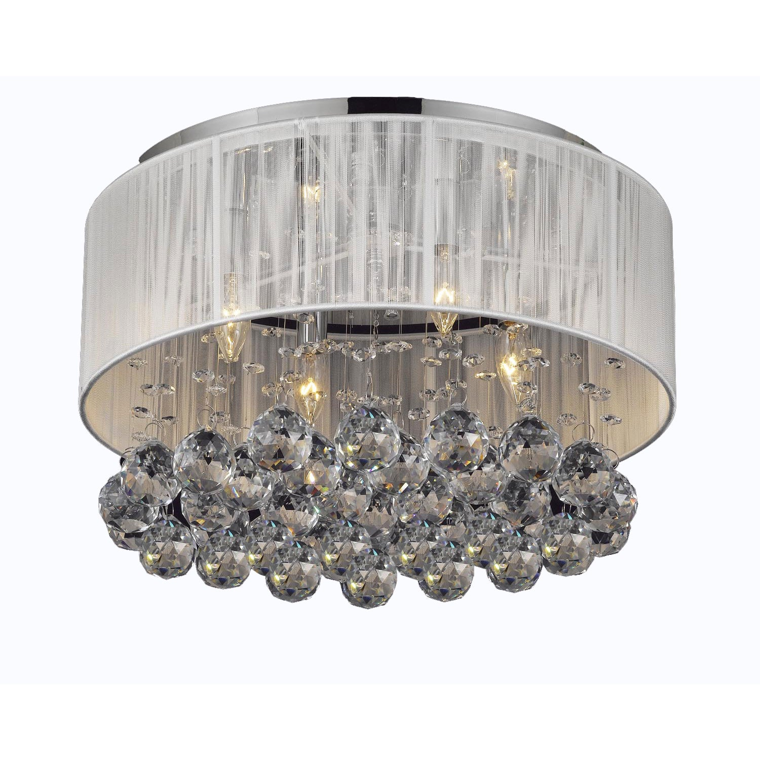 Gallery Chrome Flush Mount 4 Light Chandelier with Large ...