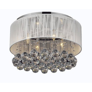 Chrome Flush Mount 4 Light Chandelier with Large White Shade