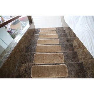Ottomanson Softy Collection Solid Design Stair Tread Rug (Set of 7) - 9 x 26 (Option: Beige)