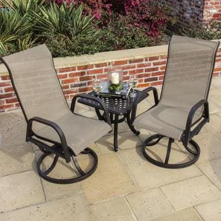 Lakeview Outdoor Designs Madison Bay 2-Person Sling Patio Bistro Set With Cast Aluminum Table