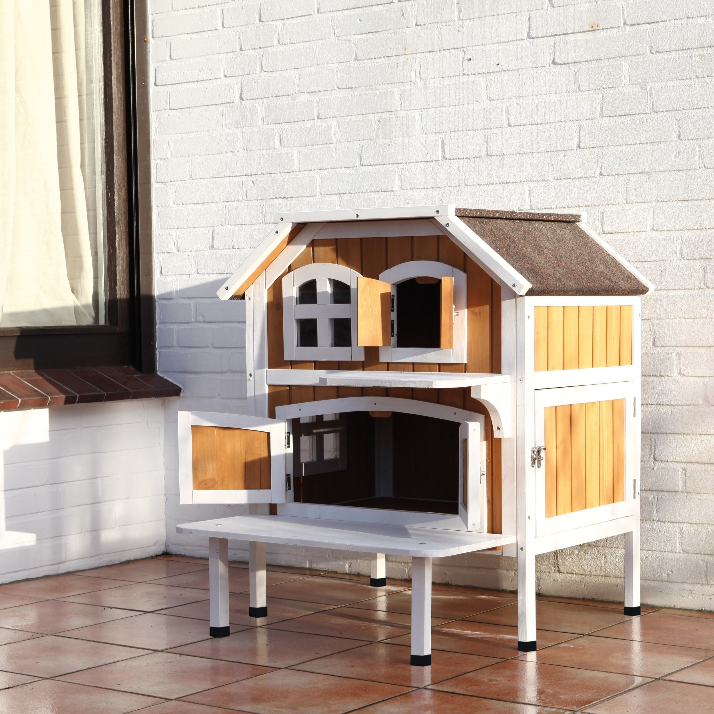 Trixie 2-story Cat Cottage (White - 63 Inches - 63 X 50),...