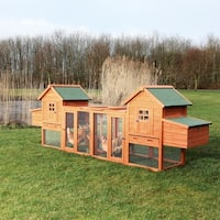 Chicken Coop Duplex with Outdoor Run - brown