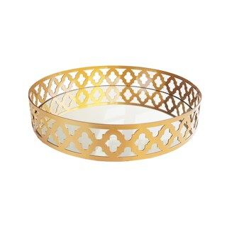 Accents by Jay Round Mirror Tray (Option: Gold)