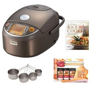 Zojirushi NP-NVC10 Induction Heating Pressure Rice Cooker and Warmer + Cooking Book + Spatula Spice Set + Measuring Cup Set