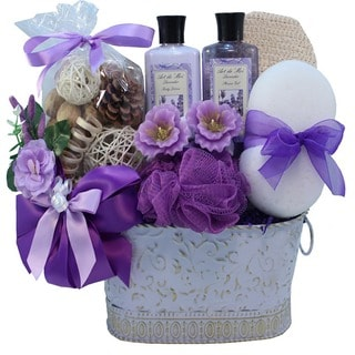 Lavender Renewal Spa Bath and Body Medium Gift Basket Set