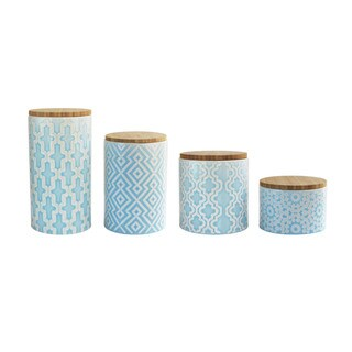 Accents by Jay Arabesque Blue 4-piece Canister Set