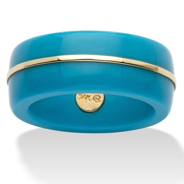 Round Viennese Turquoise 14k Yellow Gold Ring Band Naturalist