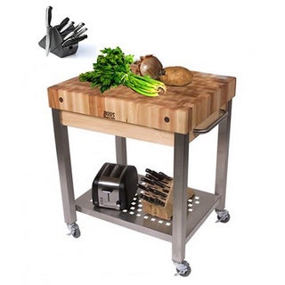 John Boos 30 x 24 Cucina Technical Cart CUCT24 with Bonus J A Henckels 13-piece Knife Set